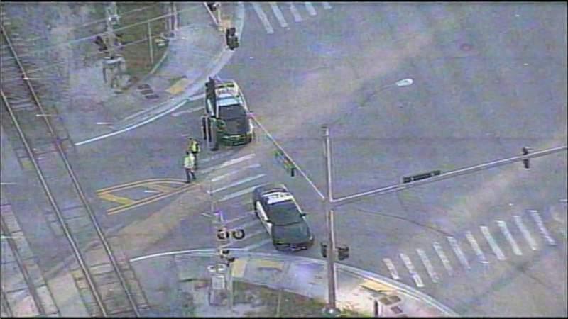 Sky 10 over the scene after a Brightline train struck a pickup truck in Deerfield Beach.