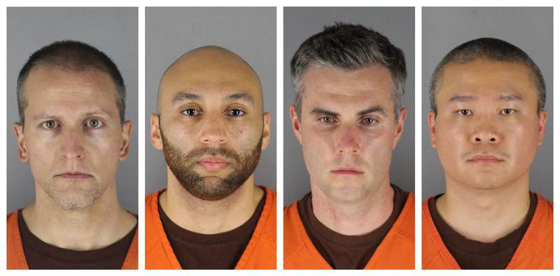 FILE - This combination of photos provided by the Hennepin County Sheriff's Office in Minnesota on Wednesday, June 3, 2020, shows from left, former Minneapolis police officers Derek Chauvin, J. Alexander Kueng, Thomas Lane and Tou Thao. Three of the former Minneapolis police officers charged with violating George Floyd's civil rights are asking that their federal trials be separated from Chauvin's, who has already been convicted on state murder charges for kneeling on Floyd's neck as the Black man pleaded for air. (Hennepin County Sheriff's Office via AP File)