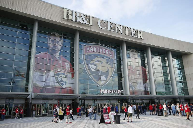 A general view of BB&T Center prior to the game between the Florida Panthers and the Carolina Hurricanes on October 08, 2019 in Sunrise, Florida.