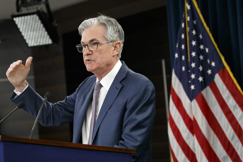 FILE - In this March 3, 2020 file photo, Federal Reserve Chair Jerome Powell speaks during a news conference to discuss an announcement from the Federal Open Market Committee, in Washington. The Federal Reserve will issue the first loans under its groundbreaking Main Street Lending program in a few days,  Powell said Friday, May 29.  (AP Photo/Jacquelyn Martin)
