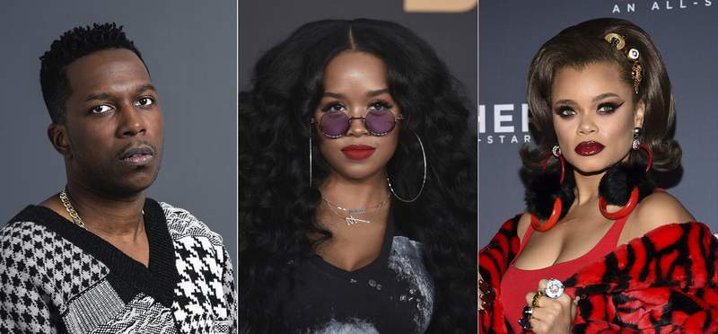 This combination photo shows Leslie Odom Jr. posing for a portrait on Nov. 8, 2019 in New York, from left, H.E.R. at the 51st NAACP Image Awards on Feb. 22, 2020 in Pasadena, Calif. and Andra Day at the 11th annual CNN Heroes: An All-Star Tribute at the American Museum of Natural History on Dec. 17, 2017, in New York. On Wednesday, Feb. 3, 2021, Leslie Odom Jr., H.E.R. and Andra Day were announced along with Celeste and Diane Warren as the Golden Globe nominees for best original song. The Globes will air live on Feb. 28. (AP Photo)