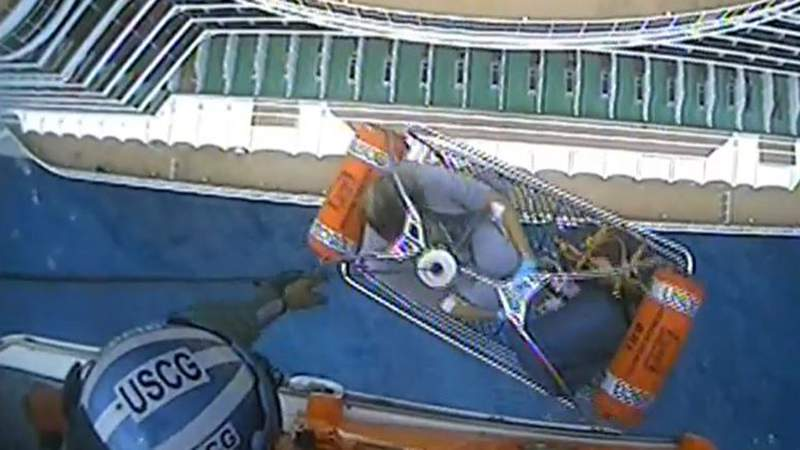 A Coast Guard crew rescued a pregnant woman from a cruise ship and took her to a hospital in Fort Lauderdale.