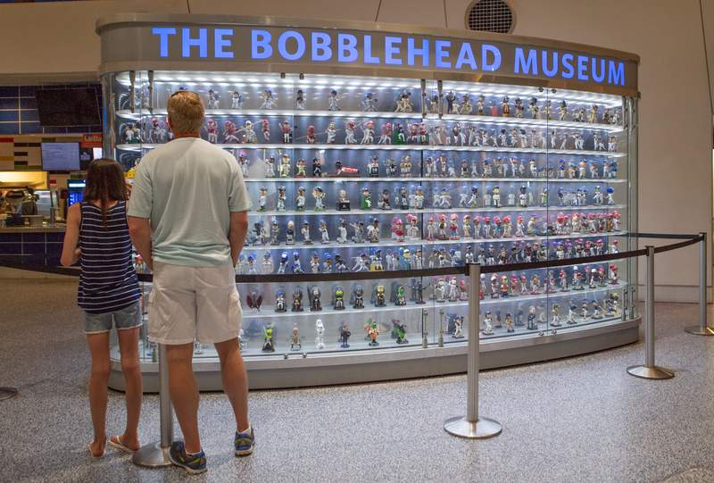 A detailed view of The Bobblehead Museum inside Marlins Park during the game against the Arizona Diamondbacks at Marlins Park on June 25, 2018 in Miami, Florida.