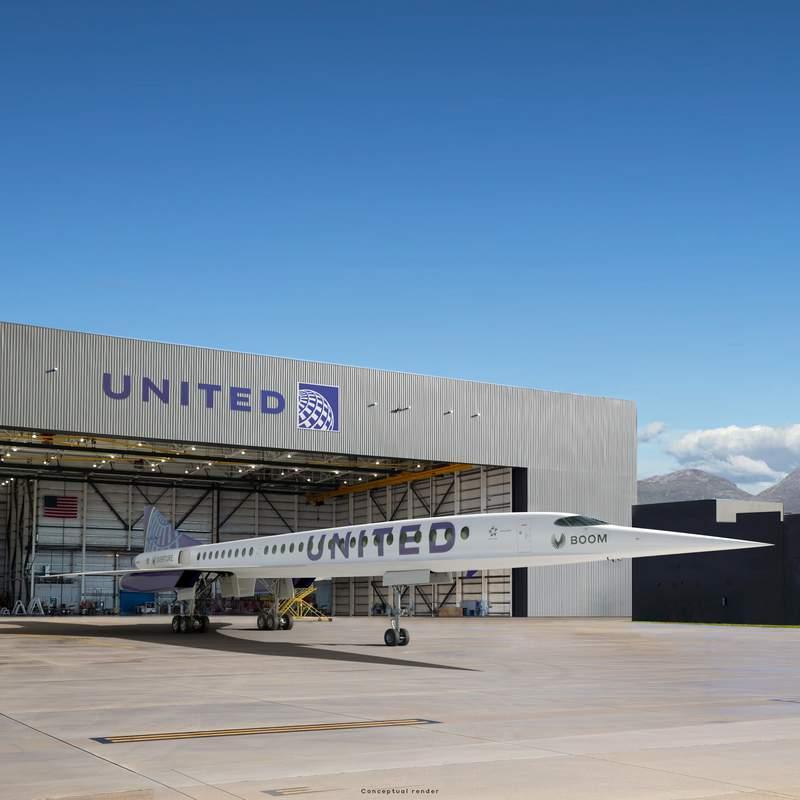 Esta imagen cortesa de Boom Supersonic muestra la visin de un artista del jet Boom Supersonic Overture de United Airlines. (Boom Supersonic via AP)
