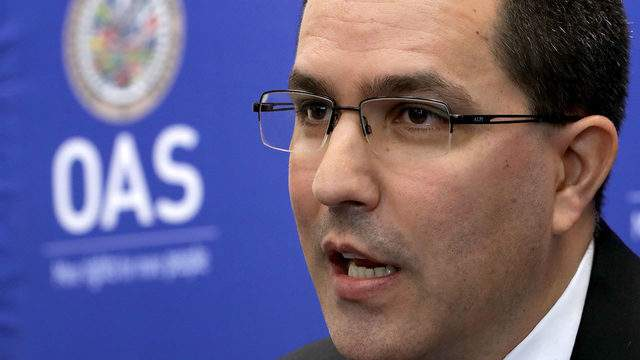 Venezuelan Minister of Foreign Affairs Jorge Arreaza holds a news conference during the Organization of American States' General Assembly meetings June 4, 2018 in Washington, DC. Photo by Chip Somodevilla/Getty Images