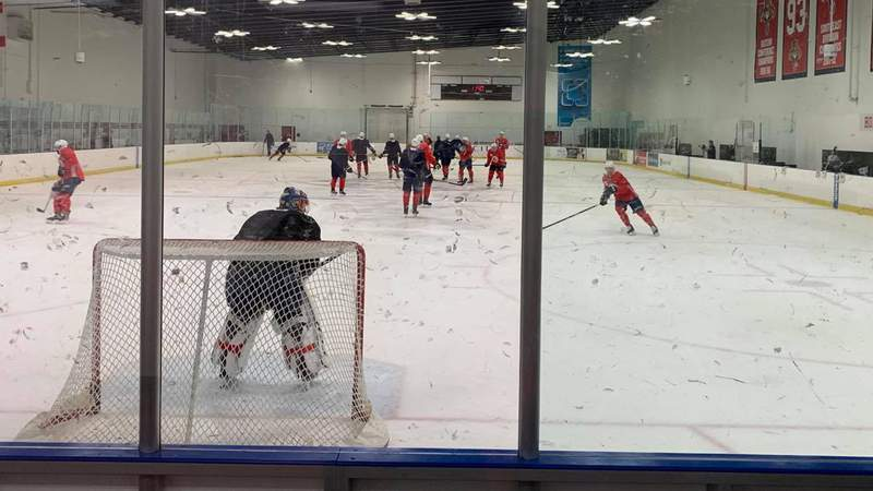 The Florida Panthers take part in a practice at the Ice Den in Coral Springs.