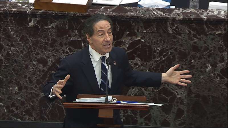 In this image from video, House impeachment manager Rep. Jamie Raskin, D-Md., speaks during closing arguments in the second impeachment trial of former President Donald Trump in the Senate at the U.S. Capitol in Washington, Saturday, Feb. 13, 2021. (Senate Television via AP)