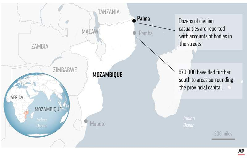 Map locates Palma, Mozanbique. Fighting raged for the fifth day Sunday in northern Mozambique as rebels fought the army for control of the strategic town of Palma.