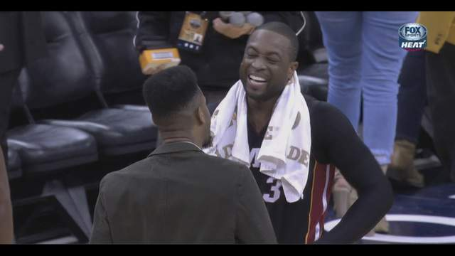 Dwyane Wade laughs following win over the Pelicans on Tuesday night