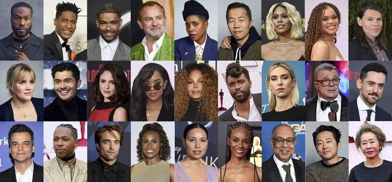 This combination photo shows some of the 395 artists who are invited to join the Academy of Motion Picture Arts and Sciences, top row from left, Yahya Abdul-Mateen II, Jon Batiste, Kingsley Ben-Adir, Hugh Bonneville, Janicza Bravo, Lee Isaac Chung, Laverne Cox, Andra Day and Clea DuVall, middle row from left, Emerald Fennell, Henry Golding, Eiza Gonzlez, H.E.R., Janet Jackson, Shaka King, Vanessa Kirby, Nathan Lane and Luis Gerardo Mndez and bottom row from left, Wagner Moura, Leslie Odom Jr., Robert Pattinson, Issa Rae, Jurnee Smollett, Tiara Thomas, George C. Wolfe, Steven Yeun and Yuh-Jung Youn. (AP Photo)
