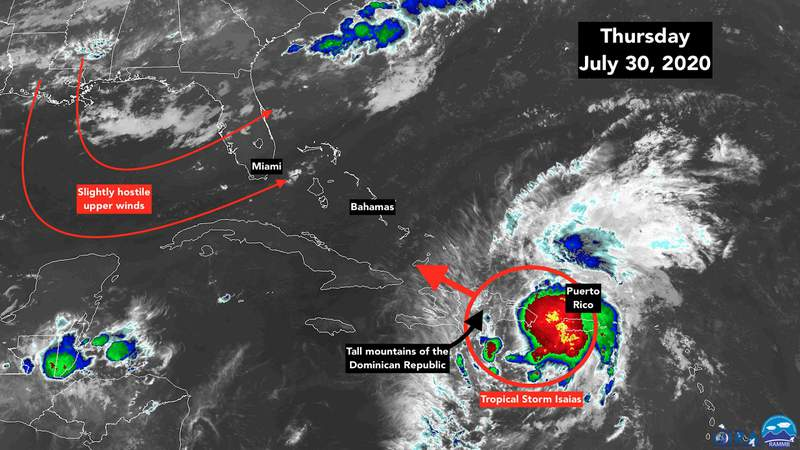 July 30 satellite image of Tropical Storm Isaias.