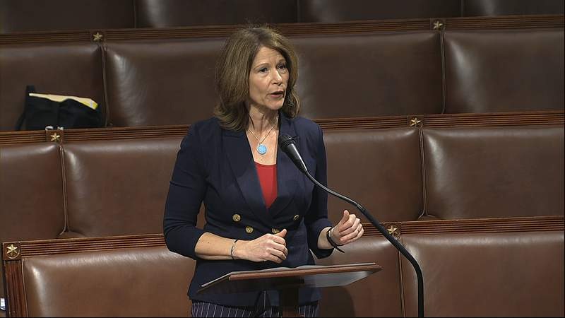 FILE - In this April 23, 2020, file image from video, Rep. Cheri Bustos, D-Ill., speaks on the floor of the House of Representatives at the U.S. Capitol in Washington. Bustos of Illinois says she will not seek reelection next year. She is stepping aside after playing a lead role in an unexpectedly bad 2020 election that saw her party nearly lose House control. (House Television via AP, File)