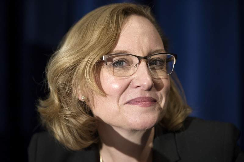 FILE - In this Nov. 17, 2016, file photo Michigan Supreme Court Justice Joan Larsen prepares to speak at the Federalist Society's National Lawyers Convention in Washington. Larsen is one of the women on Donald Trumps short list to succeed Ruth Bader Ginsburg on the U.S. Supreme Court. (AP Photo/Cliff Owen, File)