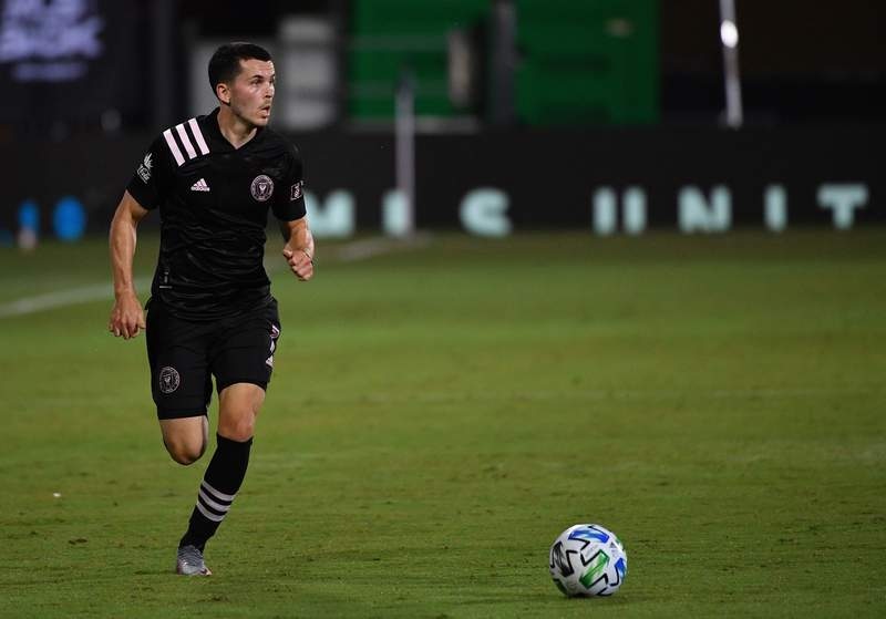 Lewis Morgan of Inter Miami CF brings the ball up the field during a Group A match against Philadelphia Union as part of MLS is Back Tournament at ESPN Wide World of Sports Complex on July 14, 2020 in Reunion, Florida.