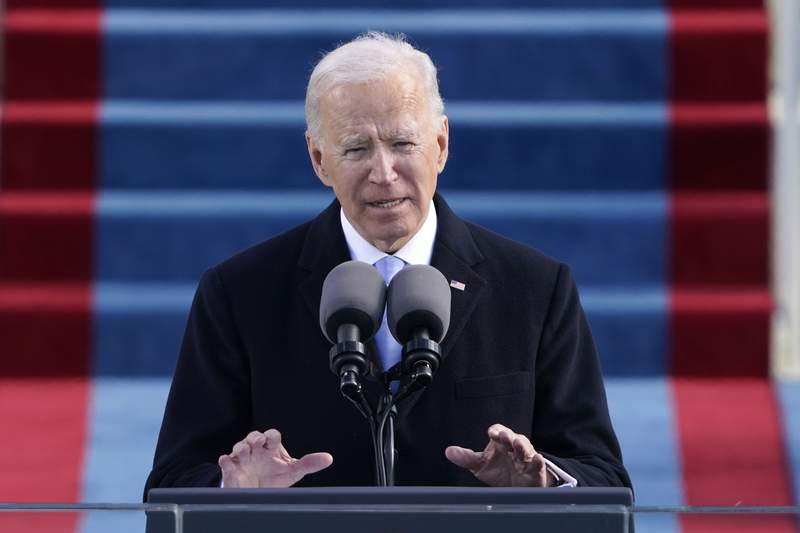 FILE - In this Wednesday, Jan. 20, 2021 file photo, President Joe Biden speaks during the 59th Presidential Inauguration at the U.S. Capitol in Washington. he Biden administration is taking quick steps to keep the United States in the World Health Organization, part of his ambition to launch a full-throttle effort to fight the COVID-19 pandemic. Just hours before Wednesdays inauguration, the Biden-Harris transition team announced its plans to take action to halt a U.S. withdrawal begun under Trump and work with partners to reform WHO and support its response to the coronavirus outbreak.  (AP Photo/Patrick Semansky, file)