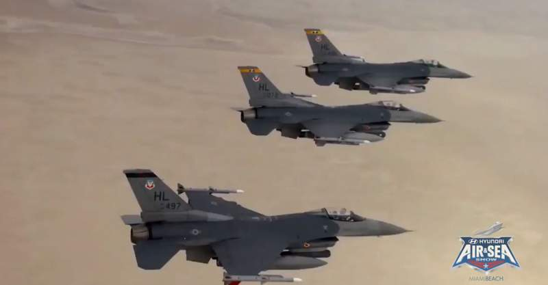 """A """"salute flight"""" featuring U.S. Air Force F-16C Fighting Falcon aircraft, plus a U.S. Coast Guard MH65 helicopter and USCG C-144 aircraft, will soar over several South Florida hospitals on Saturday to honor healthcare workers, first responders, military, and other essential personnel on Memorial Day weekend."""