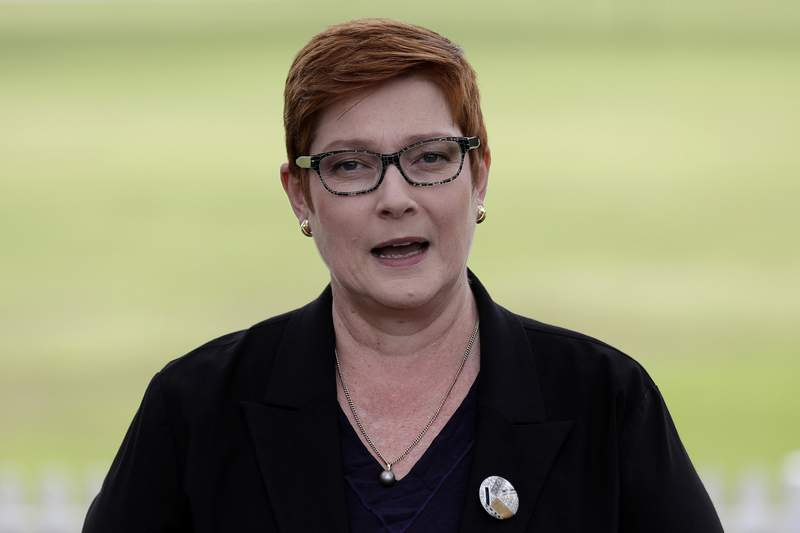 """FILE - In this May 18, 2020, file photo, Australian Foreign Minister Marise Payne speaks in Penrith, Australia. Australia has on Wednesday, April 21, 2021, cancelled two Chinese """"Belt and Road"""" infrastructure building initiative deals with a state government, provoking an angry response from Beijing. (AP Photo/Rick Rycroft, File)"""