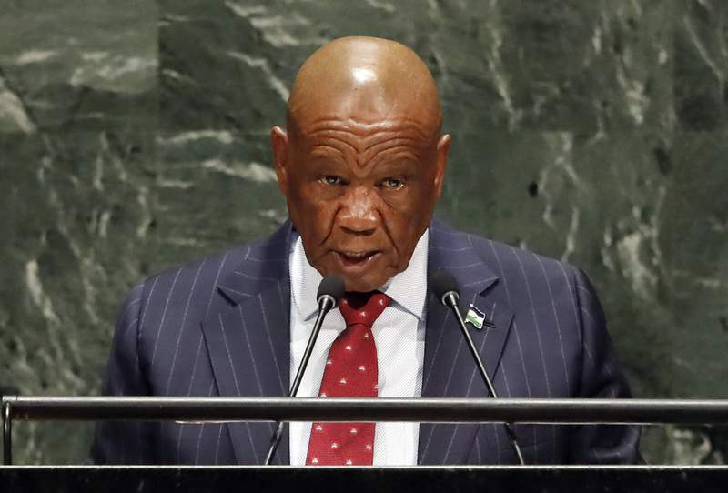 FILE  In this Friday, Sept. 27, 2019, file photo Lesotho's Prime Minister Thomas Motsoahae Thabane addresses the 74th session of the United Nations General Assembly. Thabane will be charged with the June 2017 killing of his former wife, Lipolelo, a top police official said Thursday, Feb. 20, 2020. (AP Photo/Richard Drew, File)