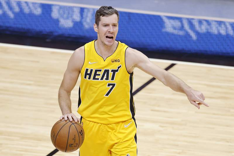Goran Dragic of the Miami Heat reacts against the Orlando Magic during the second quarter at American Airlines Arena on March 11, 2021 in Miami, Florida.
