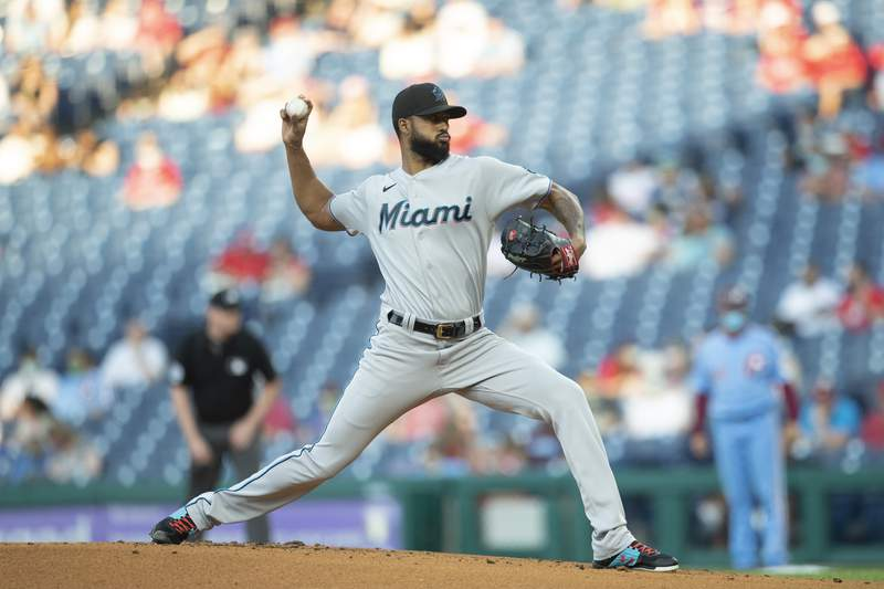 Sandy Alcantara of the Miami Marlins throws a pitch in the bottom of the first inning against the Philadelphia Phillies at Citizens Bank Park on May 20, 2021 in Philadelphia, Pennsylvania.
