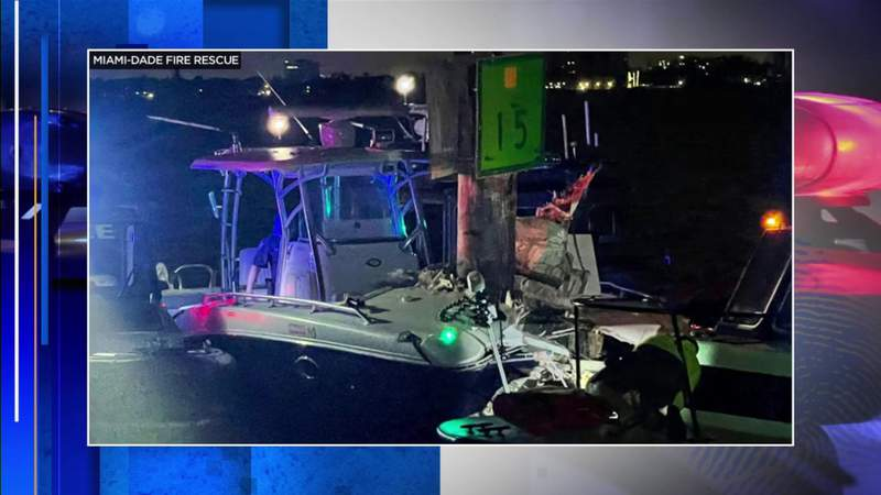 Boat crashes into channel marker, injuring 2