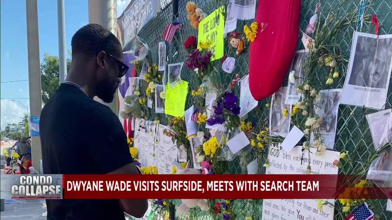 Dwyane Wade stops by Surfside site and meets with search team