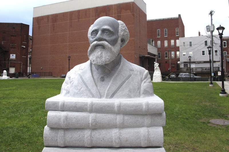 A sculpture of Henry Martin Freeman, the first Black American College president, is on display in his home city of Rutland, Vt., on Monday, Nov. 23, 2020. Freeman graduated from Middlebury College in 1849, and became president of Allegheny Institute in 1856, which later became Avery College, in Pittsburgh, Pa. (AP Photo/Lisa Rathke)