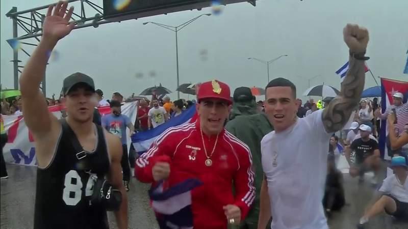 Cuban-American demonstrators take over Miami-Dade highway