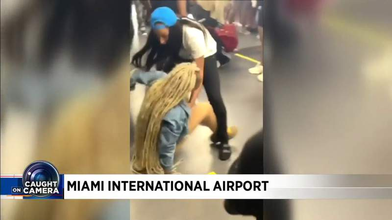 Another chaotic airport fight caught on camera in Miami