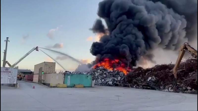 Fire rages at Opa-locka recycling plant for second time this year