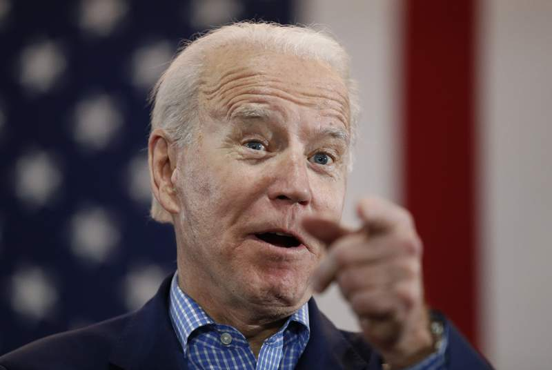 FILE - In this Feb. 22, 2020, file photo, Democratic presidential candidate former Vice President Joe Biden speaks during a caucus night event in Las Vegas. As Bidens search for a vice presidential running mate heats up, he is facing growing pressure to choose a black woman. (AP Photo/John Locher, File)