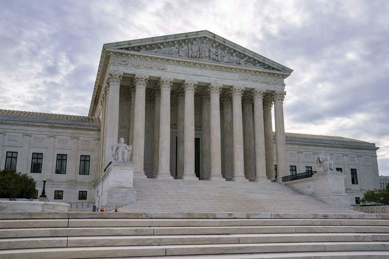 The Supreme Court is seen on the first day of the new term, in Washington, Monday, Oct. 4, 2021. (AP Photo/J. Scott Applewhite)