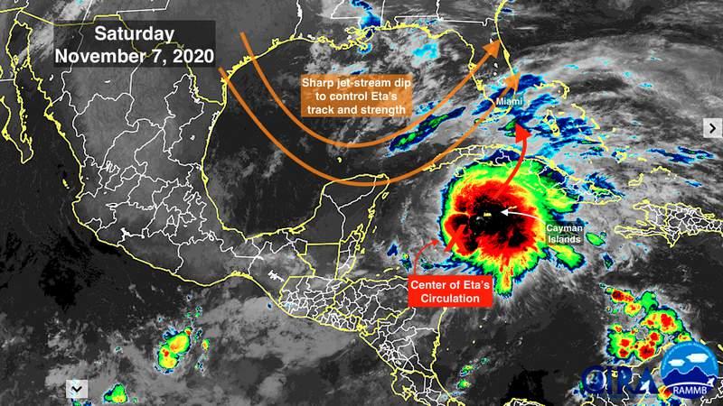 Tropical Storm Eta satellite imaging