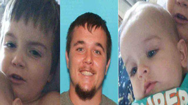 An Amber Alert was issued for Casen Page (left), 5, and Caden Page (right), 6 months. Authorities say their father, Joseph Page (center), abducted them.