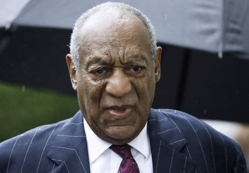 FILE - In this Sept. 25, 2018, file photo, Bill Cosby arrives for a sentencing hearing following his sexual assault conviction at the Montgomery County Courthouse in Norristown Pa.  Cosby has been denied parole, Thursday, May 27, 2021, after refusing to participate in sex offender programs during his nearly three years in state prison in Pennsylvania.   (AP Photo/Matt Rourke, File)