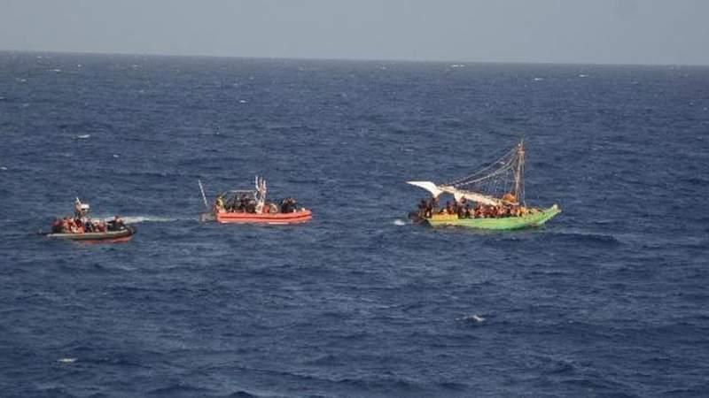 Two small boats from Coast Guard Cutter Diligence interdict Haitian migrants off Cuba's coast, Sept. 18, 2021. The Coast Guard repatriated 260 migrants.