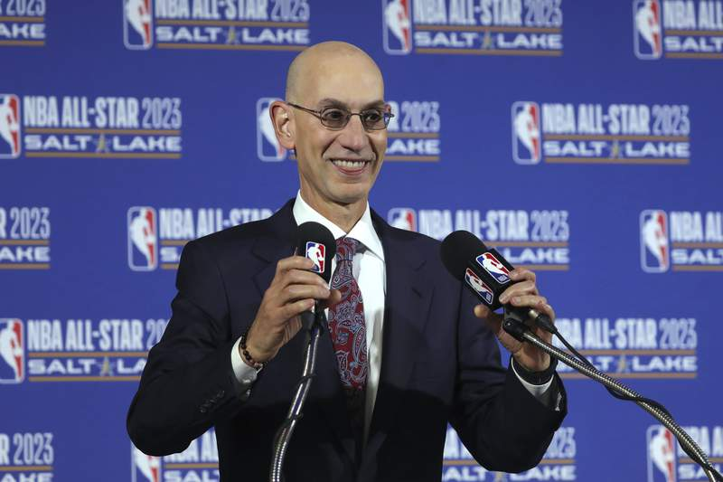 FILE - In this Oct. 23, 2019, file photo, NBA Commissioner Adam Silver speaks during a news conference at Vivint Smart Home Arena in Salt Lake City. Something is finally clear in the uncertain NBA. Players believe theyre going to play games again this season. The obvious questions like how, where and when remain unanswered. (AP Photo/Rick Bowmer, File)