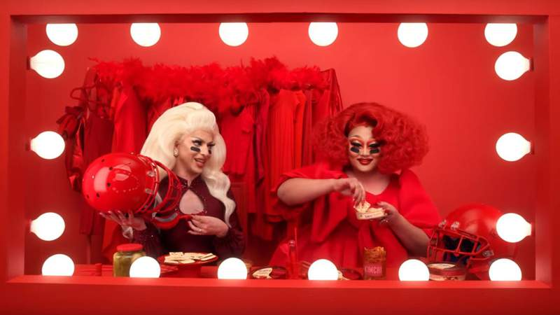 Drag queens KimChi and Miz Cracker are set to appear in a Sabra Dipping Co. hummus commercial during Super Bowl LIV on Sunday.