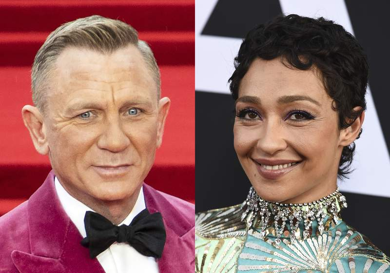 """This combination photo shows Daniel Craig at the world premiere of the film """"No Time To Die"""" in London on Sept. 28, 2021, left, and Ruth Negga at a special screening of """"Ad Astra"""" in Los Angeles on Sept. 18, 2019. Craig will return to Broadway in the fall 2022 as Macbeth with  Negga making her Broadway debut playing Lady Macbeth. Macbeth will play the Lyceum Theatre starting March 29, 2022 with an opening set for April 28. (AP Photo)"""