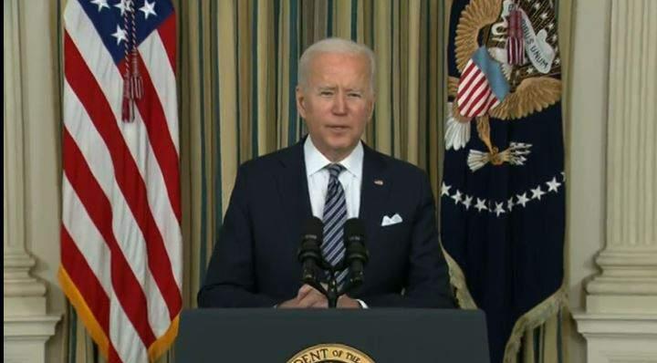 President Joe Biden talks about coronavirus relief on Monday from the White House.