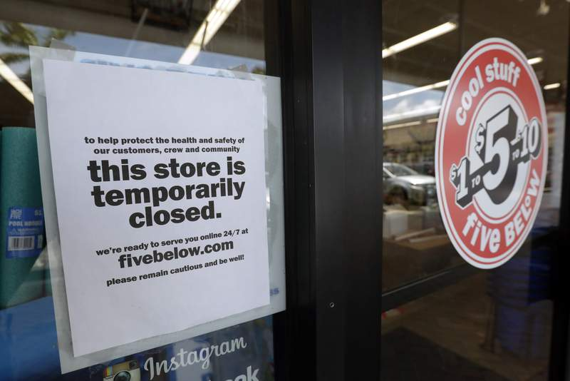 FILE - In this April 23, 2020 file photo, a sign is posted on a closed store in North Miami, Fla. Small businesses hoping for more leeway in using coronavirus loan money were disappointed as the government released instructions for seeking forgiveness for the loans. Forms the Small Business Administration released late Friday, May 15, 2020 didnt address two concerns shared by many owners about the Paycheck Protection Program. (AP Photo/Wilfredo Lee, File)