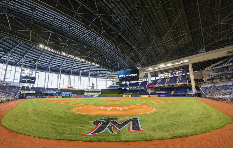 A general view of the loanDepot logo on the scoreboards during a press conference to the media to announce loanDepot as the exclusive naming rights partner for loanDepot park, formerly known as Marlins Park on March 31, 2021 in Miami, Florida.