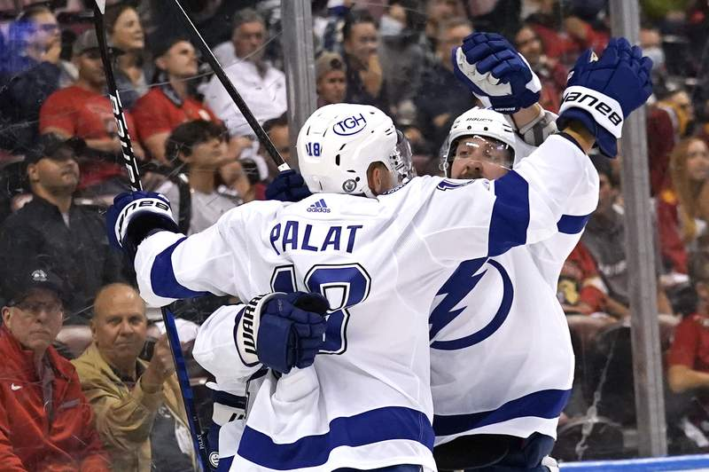 Tampa Bay Lightning left wing Ondrej Palat (18) celebrates after scoring a goal during the first period in Game 2 of the team's NHL hockey Stanley Cup first-round playoff series against the Florida Panthers, Tuesday, May 18, 2021, in Sunrise, Fla. (AP Photo/Lynne Sladky)