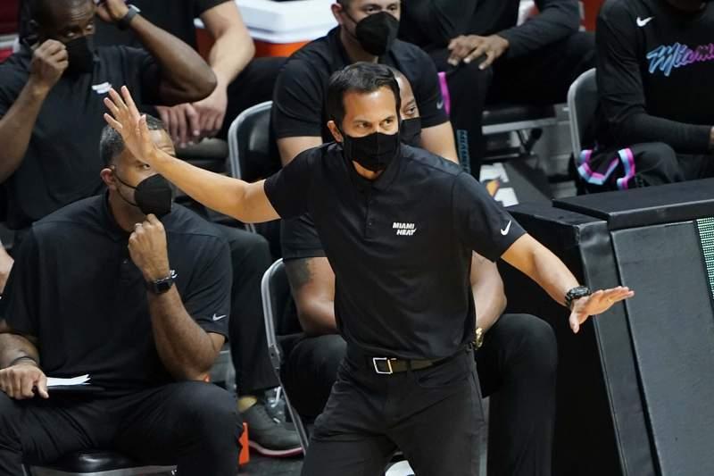 Miami Heat coach Erik Spoelstra gestures during a game against the Oklahoma City Thunder.