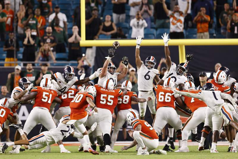 Andres Borregales of the Miami Hurricanes misses a game-winning field goal against the Virginia Cavaliers as time expires during the second half at Hard Rock Stadium on September 30, 2021 in Miami Gardens, Florida.