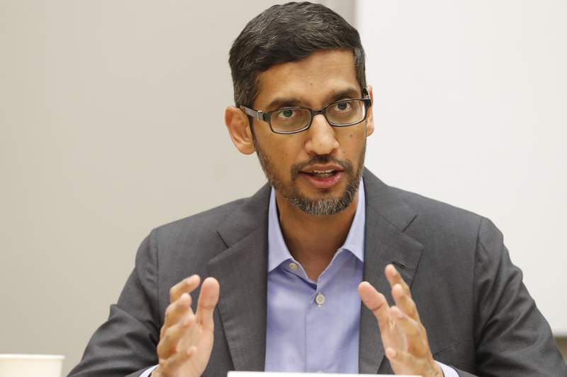 FILE- In this Oct. 3, 2019 file photo, Google CEO Sundar Pichai speaks during a visit to El Centro College in Dallas. Pichai has apologized for how a prominent artificial intelligence researcher's abrupt departure last week has seeded doubts in the company. Pichai told Google employees in a memo Wednesday, Dec. 9, 2020 obtained by Axios that the tech company is beginning a review of the circumstances leading up to Black computer scientist Timnit Gebru's exit and how Google could have led a more respectful process. (AP Photo/LM Otero, File)