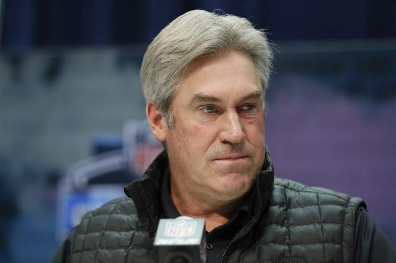 FILE - In this Feb. 25, 2020, file photo, Philadelphia Eagles coach Doug Pederson speaks during a news conference at the NFL football scouting combine in Indianapolis, Tuesday, Feb. 25, 2020. Pederson has tested positive for COVID-19. The Eagles released a statement Sunday night, Aug. 2, 2020, saying Pederson hasnt experienced any symptoms, is feeling well and under self-quarantine. The team also said any person who was in close contact with Pederson has been notified and will be tested daily. (AP Photo/Charlie Neibergall, File)