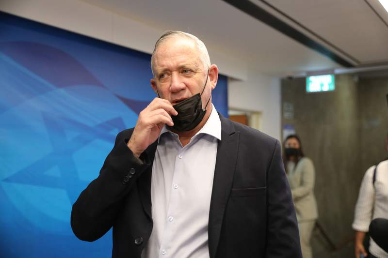 FILE - In this Aug. 1, 2021, file photo, Israeli Defense Minister Benny Gantz attends a cabinet meeting at the prime minister's office in Jerusalem. Gantz held talks late Sunday, August 29, 2021, with Palestinian President Mahmoud Abbas in the first high-level meeting between the two sides in years, officials said. (Abir Sultan/Pool Photo via AP, File)