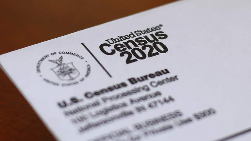 FILE - This April 5, 2020, photo shows an envelope containing a 2020 census letter mailed to a U.S. resident in Detroit. After a delay of more than four months caused by the pandemic, the U.S. Census Bureau said Thursday, Aug. 5, 2021, that data from the 2020 census used for drawing congressional and legislative districts will be released next week. (AP Photo/Paul Sancya, File)