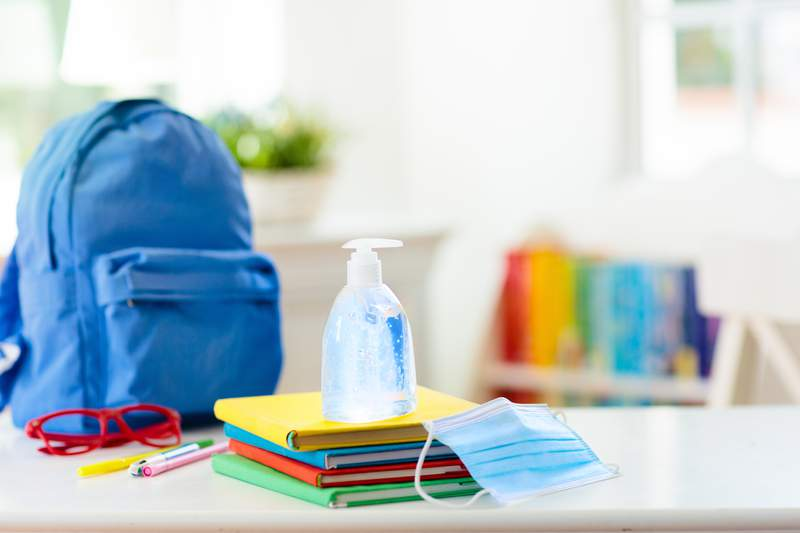 Backpack of school child with face mask and sanitizer.